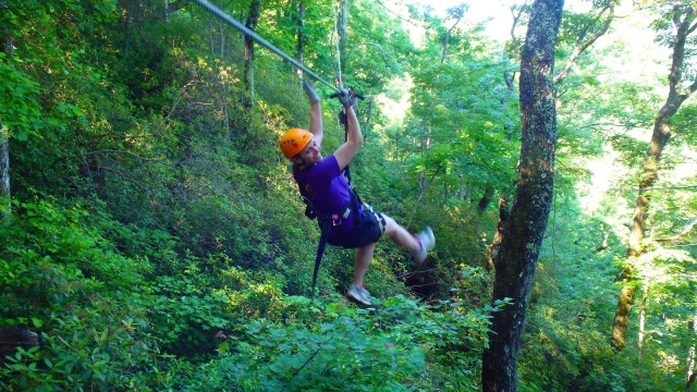 Taking off on another zipline at The Gorge Canopy Tours