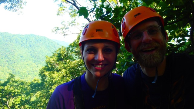 Ziplining together at The Gorge in Saluda, NC
