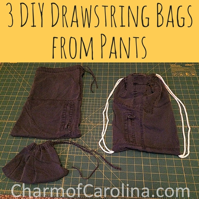 3 DIY Drawstring Bags from Pants