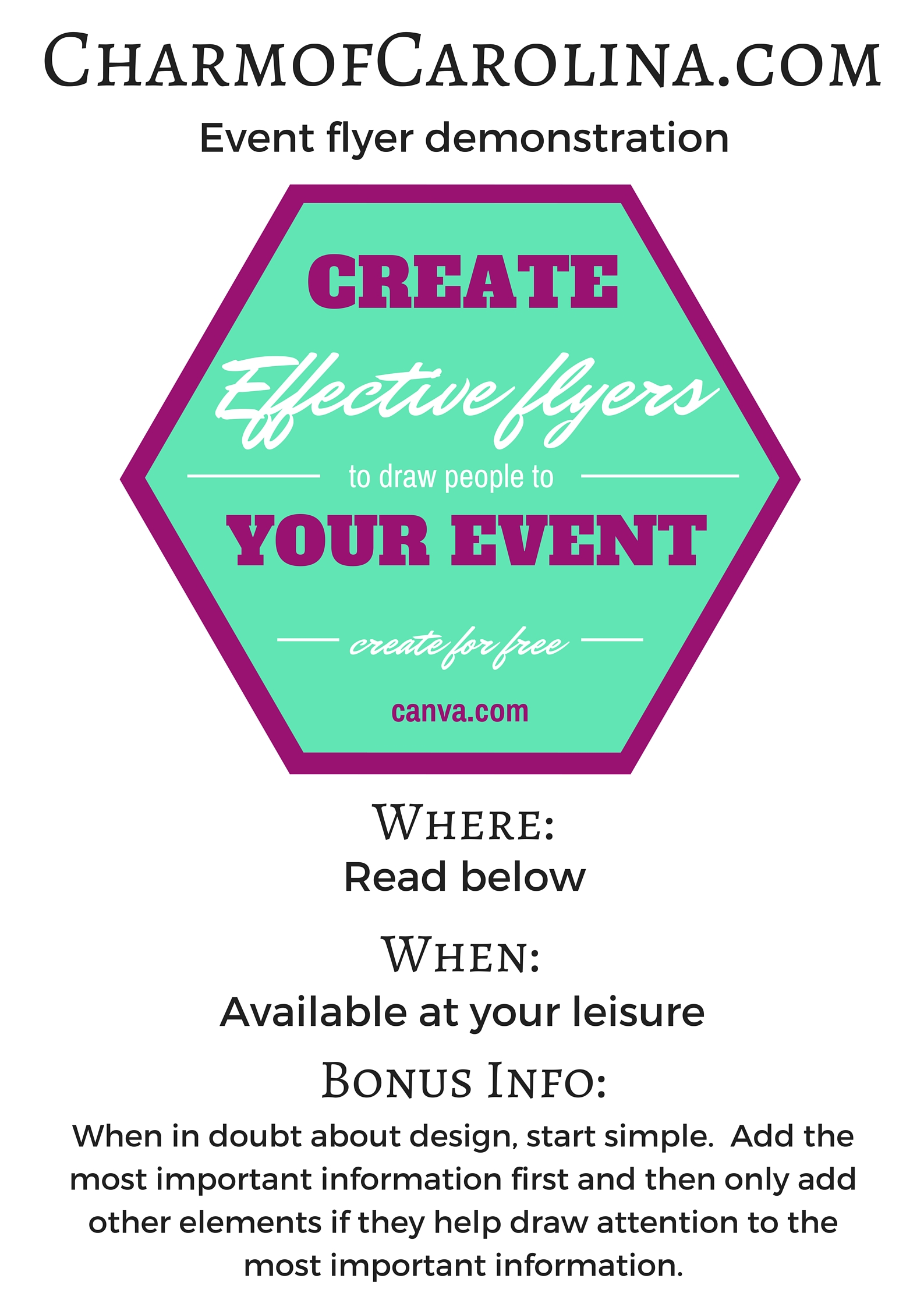 promoting your event flyers charm of carolina